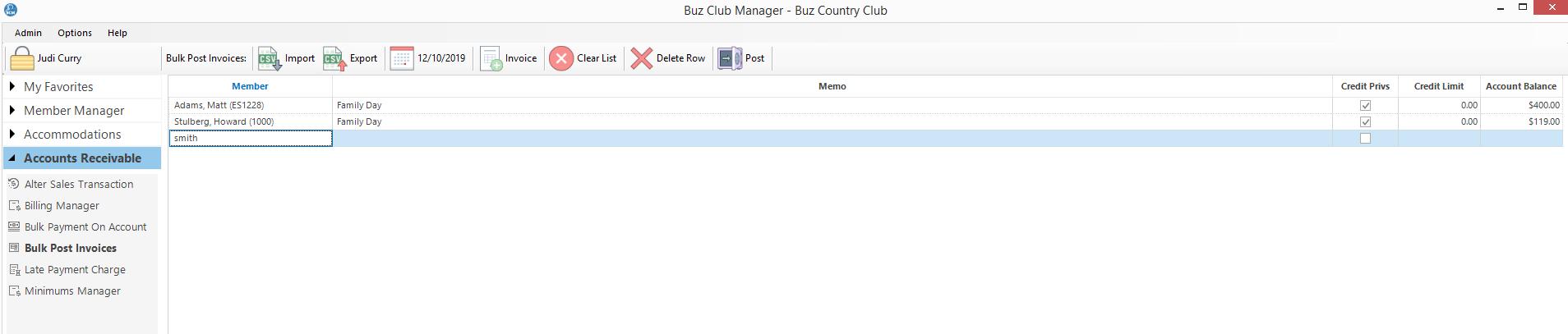 Bulk Post Invoices Buz Docs
